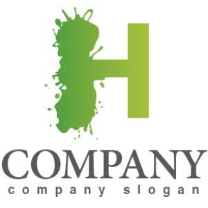 画像1: H・ペンキ・塗装・グラデーション・アルファベット・ロゴ・マークデザイン2123