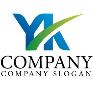 画像1: Y・K・曲線・アルファベット・グラデーション・ロゴ・マークデザイン2473