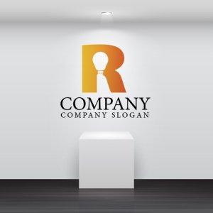 画像2: R・電球・シンプル・グラデーション・アルファベット・ロゴ・マークデザイン2505