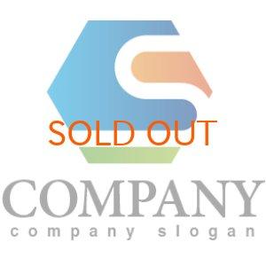 画像1: S・六角形・管・グラデーション・アルファベット・ロゴ・マークデザイン2590