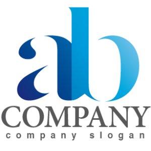 画像1: a・b・シンプル・アルファベット・グラデーション・ロゴ・マークデザイン2642