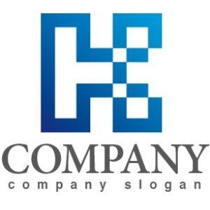 画像1: H・四角・アルファベット・グラデーション・ロゴ・マークデザイン2673