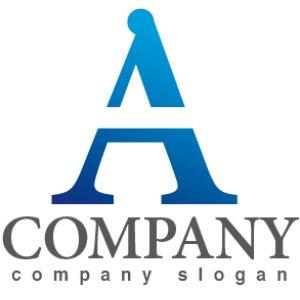 画像1: A・シンプル・アルファベット・グラデーション・ロゴ・マークデザイン004
