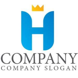 画像1: H・王冠・アルファベット・グラデーション・ロゴ・マークデザイン2808