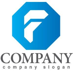 画像1: F・八角形・前進・アルファベット・グラデーション・ロゴ・マークデザイン2912
