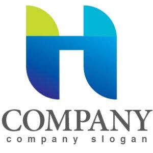 画像1: H・橋・山・アルファベット・グラデーション・ロゴ・マークデザイン2951