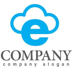 画像1: e・雲・cloud・アルファベット・ロゴ・マークデザイン2963