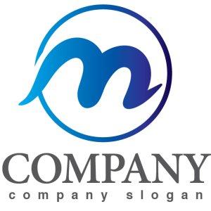 画像1: m・輪・曲線・アルファベット・グラデーション・ロゴ・マークデザイン2995