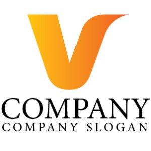 画像1: V・シンプル・曲線・グラデーション・アルファベット・ロゴ・マークデザイン3049