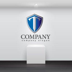 画像2: T・盾・紋章・グラデーション・ロゴ・マークデザイン3214