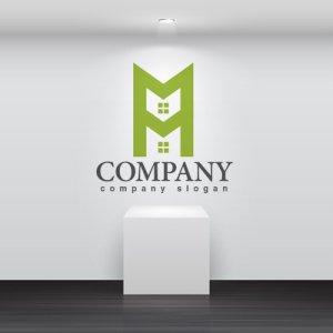 画像2: 家・M・二階・窓・アルファベット・ロゴ・マークデザイン654