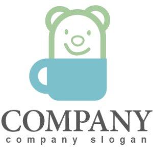 画像1: クマ・動物・かわいい・カップ・ロゴ・マークデザイン331