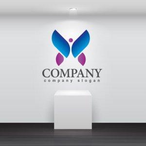 画像2: 蝶・人・翼・グラデーション・ロゴ・マークデザイン349