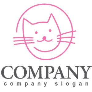 画像1: 猫・線・輪・ロゴ・マークデザイン374