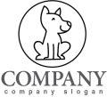 犬・輪・線・ロゴ・マークデザイン405