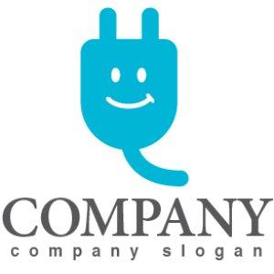 画像1: コンセント・配線・プラグ・笑顔・ロゴ・マークデザイン174