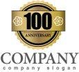 画像1: anniversary・記念・100周年・ゴールド・ロゴ・マークデザイン027 (1)