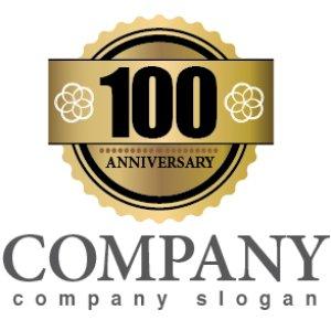 画像1: anniversary・記念・100周年・ゴールド・ロゴ・マークデザイン027
