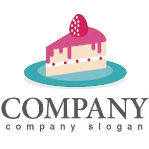 画像1: ケーキ・ いちご・ お皿・ロゴ・マークデザイン052