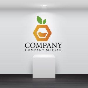 画像2:  果物・フルーツ・オレンジ・ジュース・六角形・ロゴ・マークデザイン067