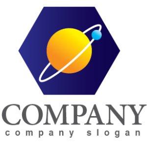 画像1: 六角形・宇宙・惑星・ロゴ・マークデザイン386