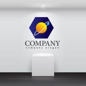 画像2: 六角形・宇宙・惑星・ロゴ・マークデザイン386