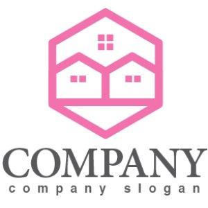 画像1: 家・窓・六角形・ロゴ・マークデザイン772