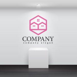 画像2: 家・窓・六角形・ロゴ・マークデザイン772