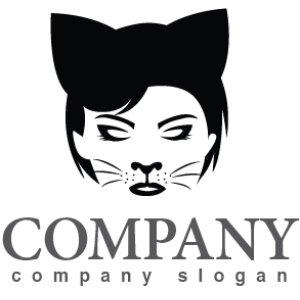 画像1: 顔・似顔絵・猫・耳・ロゴ・マークデザインKO767