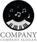 ピアノ・音符・ロゴ・マークデザイン013