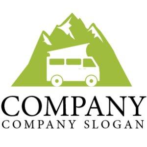 画像1: キャンピングカー・山・車・旅行・ロゴ・マークデザイン174