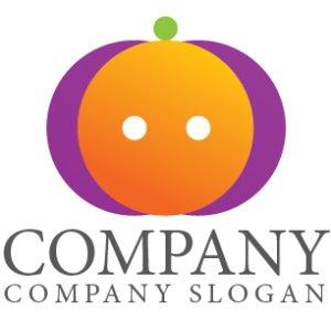 画像1:  かぼちゃ・オレンジ・輪・顔・グラデーション・ロゴ・マークデザイン715