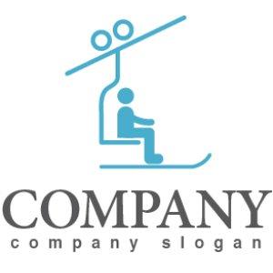 画像1: スキー・人・リフト・ロゴ・マークデザイン006