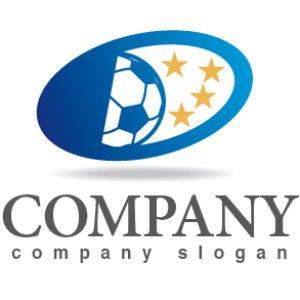 画像1: 星・サッカーボール・楕円・グラデーション・ロゴ・マークデザイン008